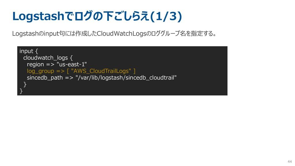 44 Logstashでログの下ごしらえ(1/3) Logstashのinput句には作成した...