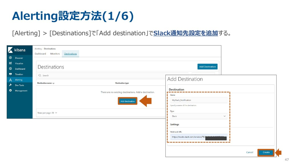47 Alerting設定方法(1/6) [Alerting] > [Destinations...