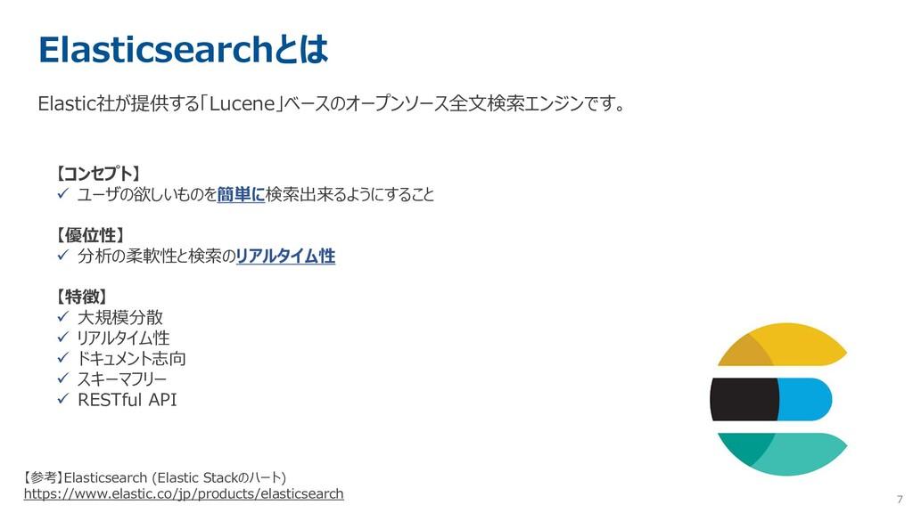 7 Elasticsearchとは Elastic社が提供する「Lucene」ベースのオープン...