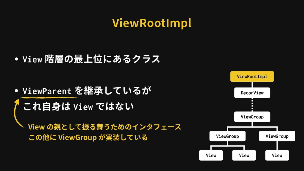 ViewRootImpl ・View 階層の最上位にあるクラス