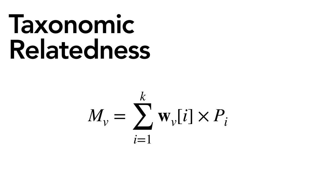 Taxonomic Relatedness Mv = k ∑ i=1 wv [i] × Pi