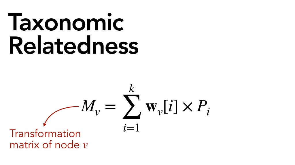 Taxonomic Relatedness Mv = k ∑ i=1 wv [i] × Pi ...