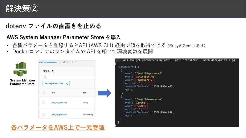 解決策② dotenv ファイルの直置きを⽌める • 各種パラメータを登録するとAPI (AW...