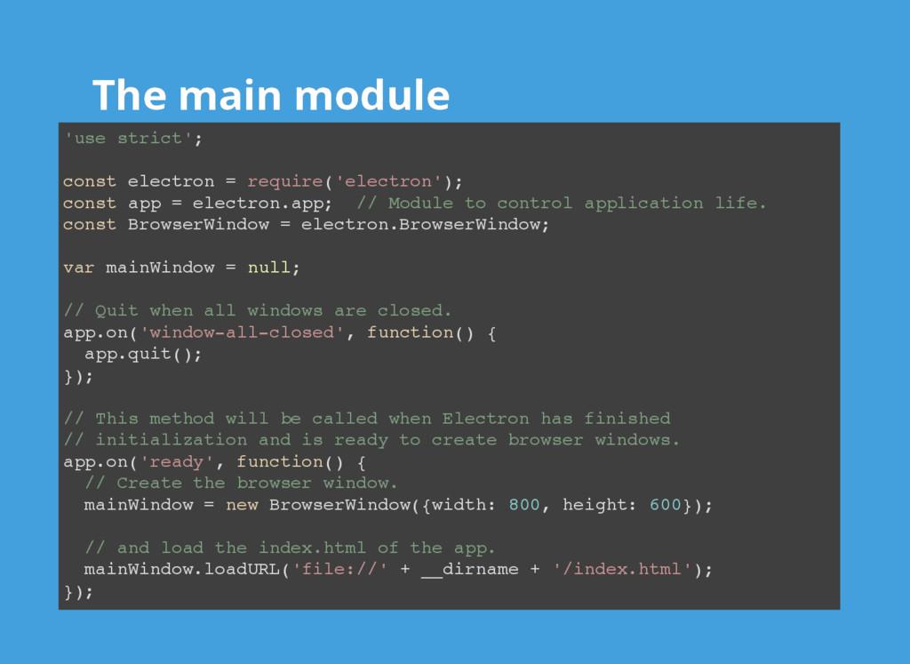 The main module The main module 'use strict'; c...