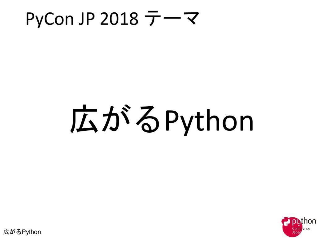 広がるPython PyCon JP 2018 テーマ 広がるPython
