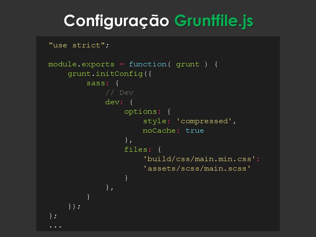 """Configuração Gruntfile.js """"use strict""""; module...."""