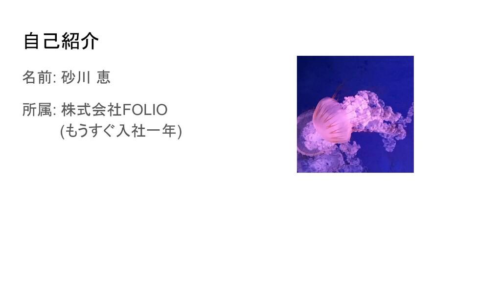 自己紹介 名前: 砂川 恵 所属: 株式会社FOLIO (もうすぐ入社一年)