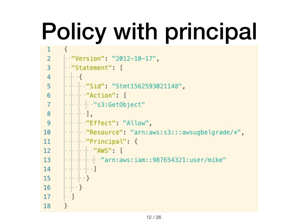 / 26 Policy with principal !12