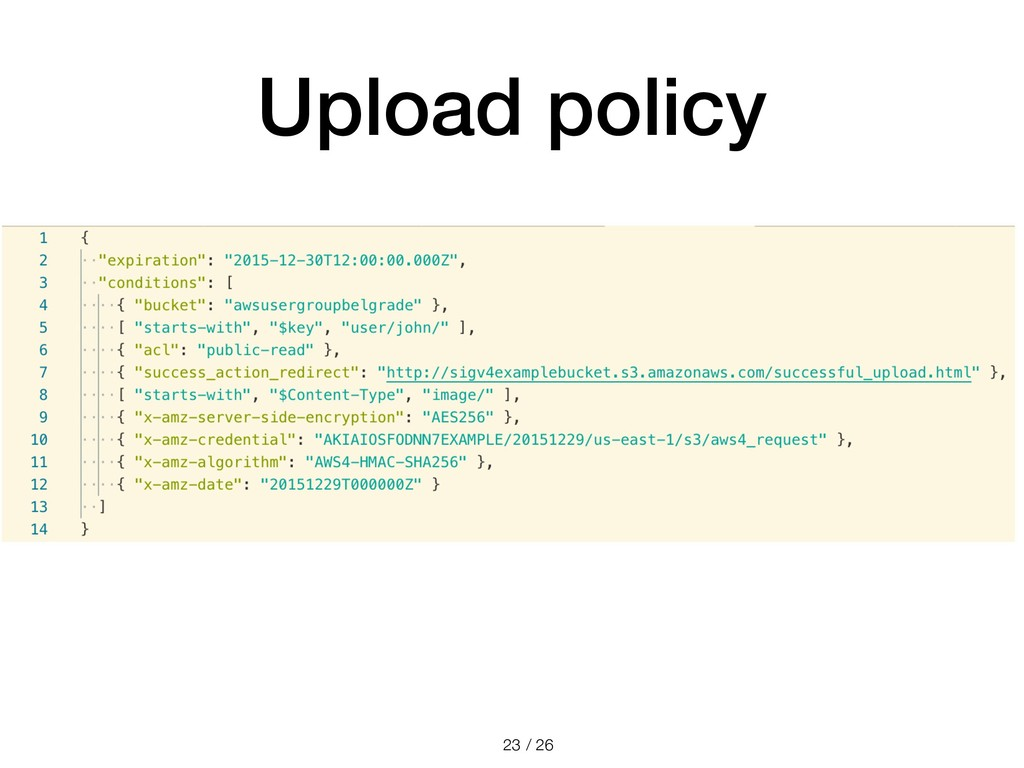 / 26 Upload policy !23
