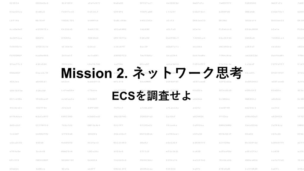 Mission 2. ネットワーク思考 ECSを調査せよ