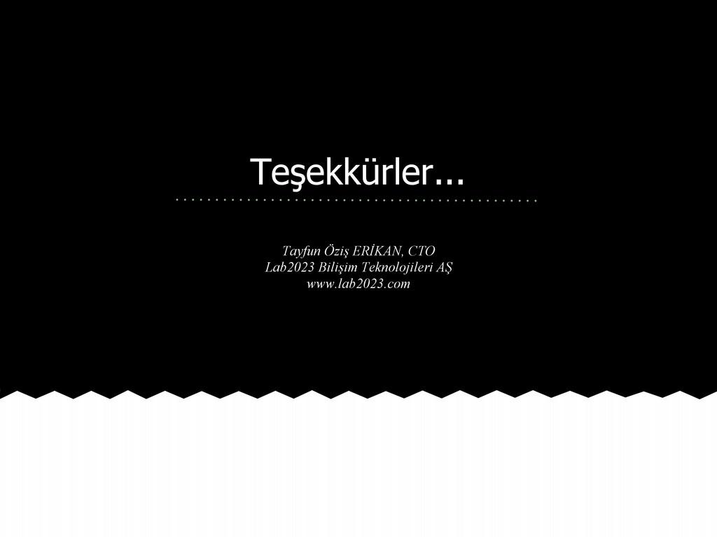 Teşekkürler... Tayfun Öziş ERİKAN, CTO Lab2023 ...