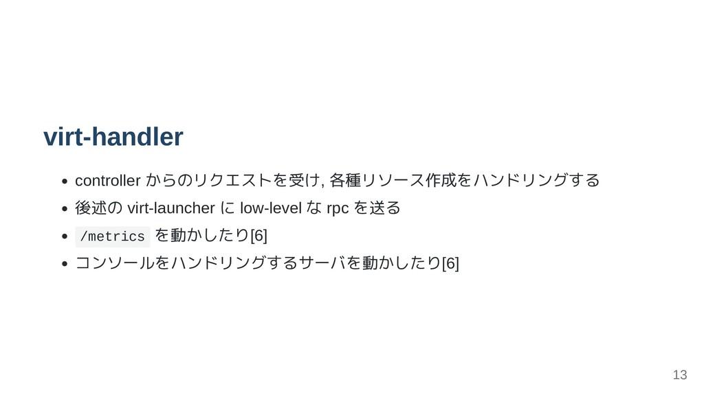 virt-handler controller からのリクエストを受け, 各種リソース作成をハ...
