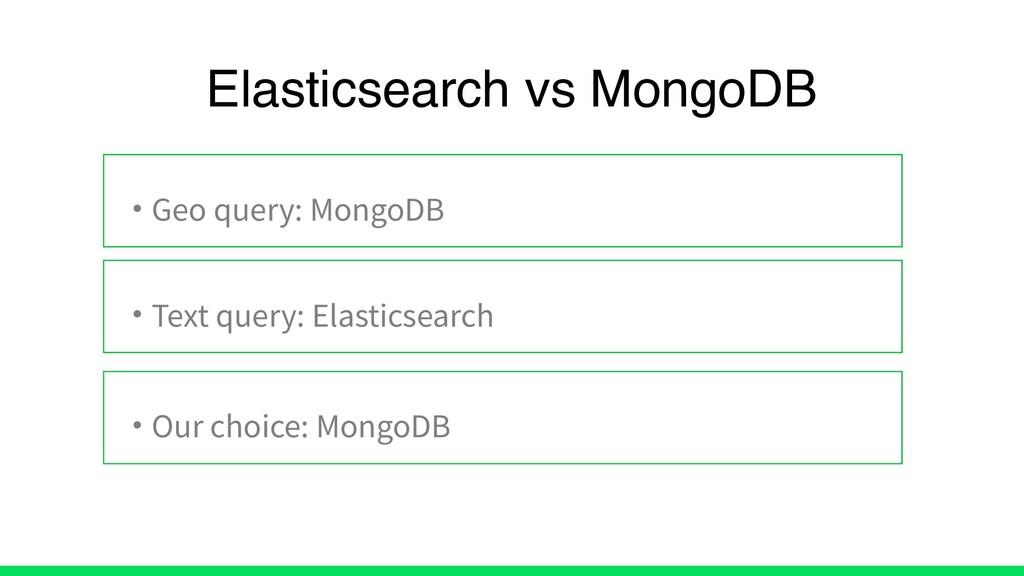 • Geo query: MongoDB • Text query: Elasticsearc...