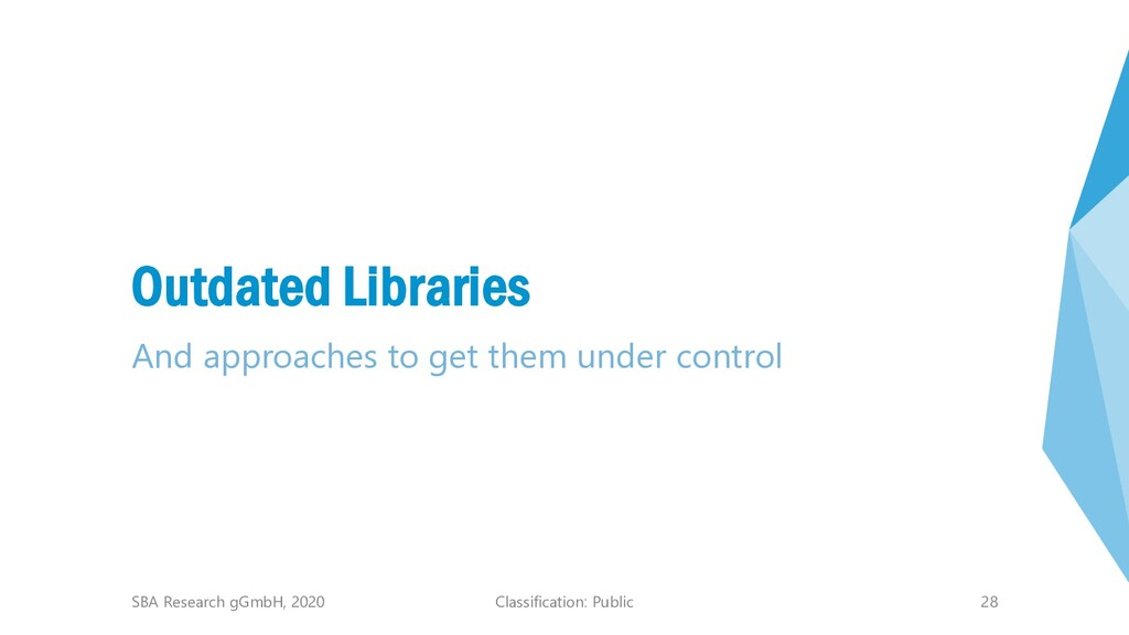 Classification: Public 28 Outdated Libraries An...