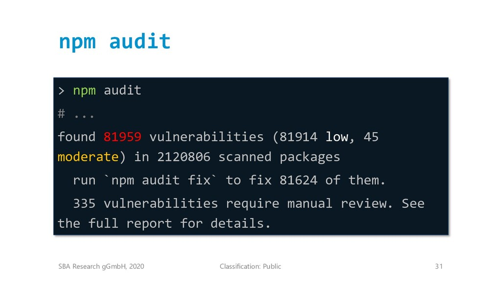 Classification: Public 31 npm audit SBA Researc...