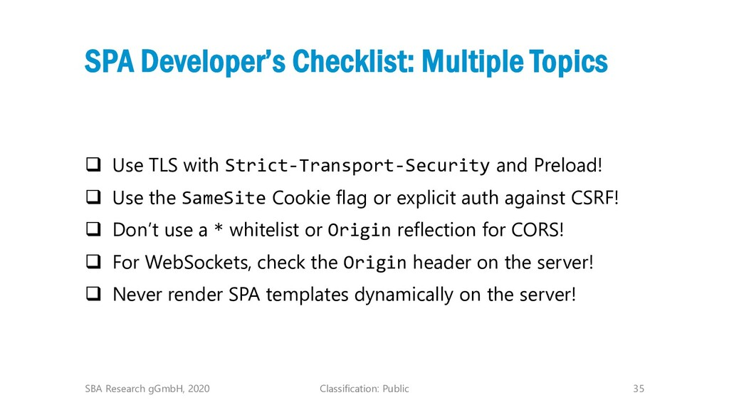 Classification: Public 35 SPA Developer's Check...