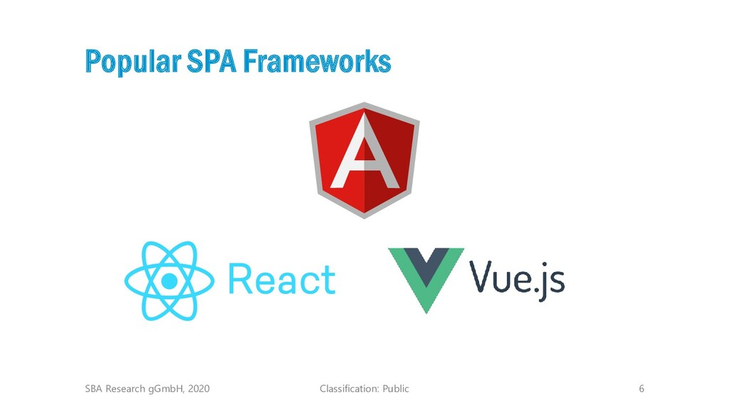 Classification: Public 6 Popular SPA Frameworks...