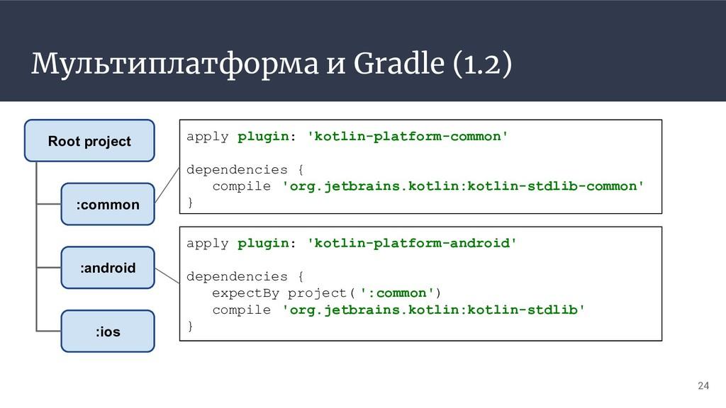 Мультиплатформа и Gradle (1.2) 24 :common :andr...