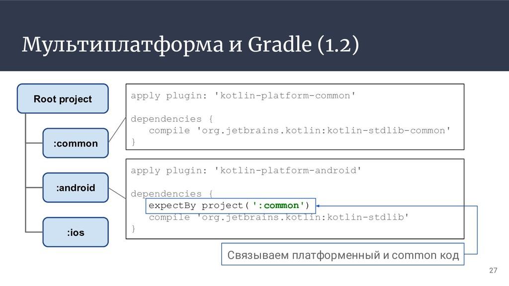 Мультиплатформа и Gradle (1.2) 27 :common :andr...