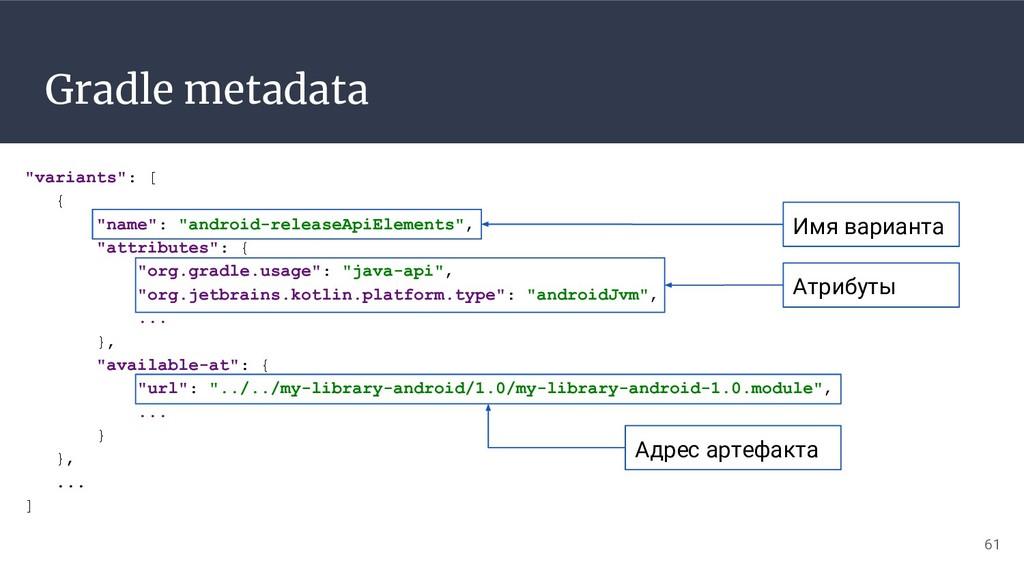"Gradle metadata 61 ""variants"": [ { ""name"": ""and..."