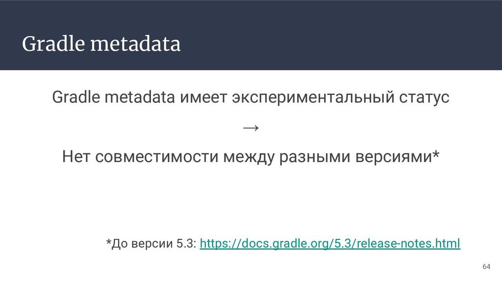 Gradle metadata Gradle metadata имеет экспериме...