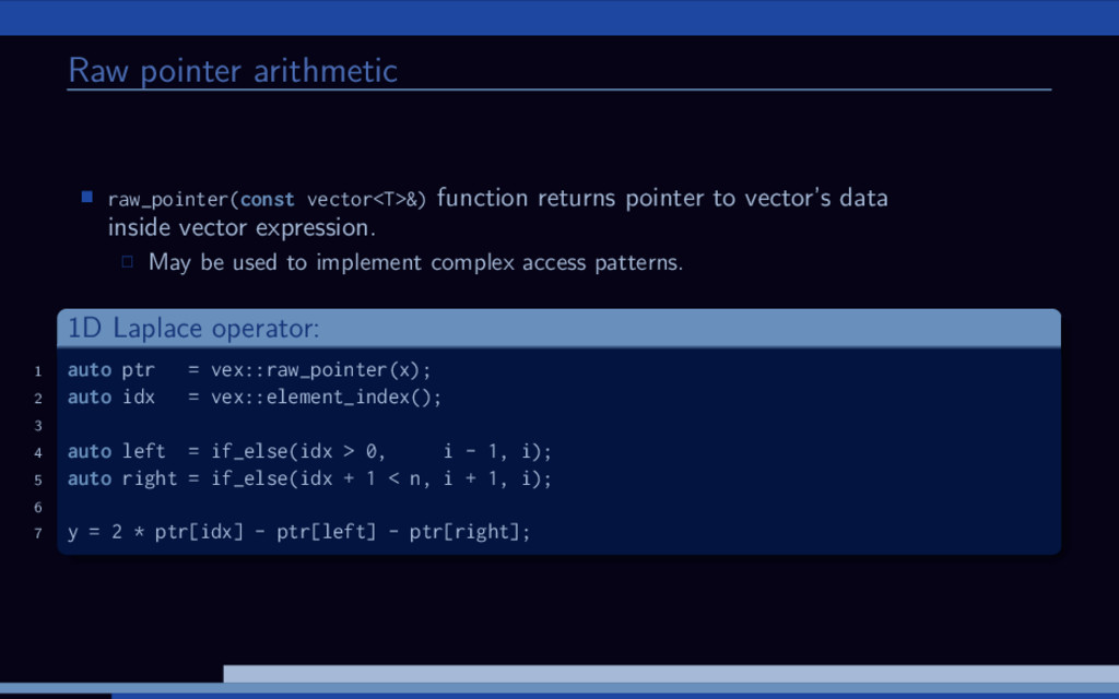 Raw pointer arithmetic raw_pointer(const vector...