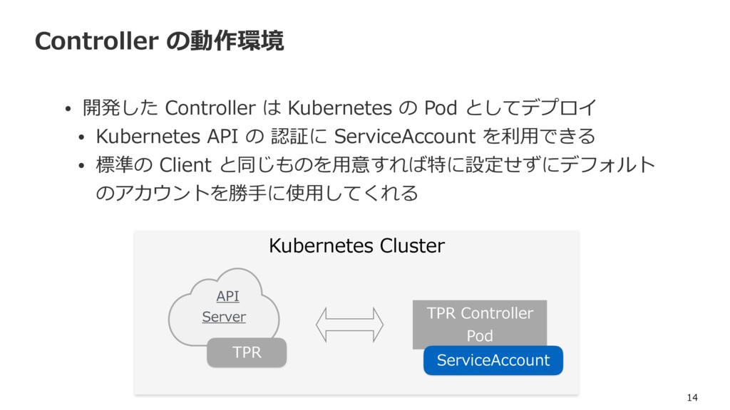 Controller の動作環境 • 開発した Controller は Kubernetes...