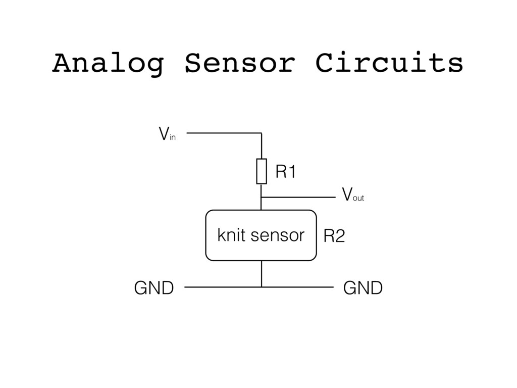Vin Vout GND GND R2 R1 knit sensor Analog Senso...