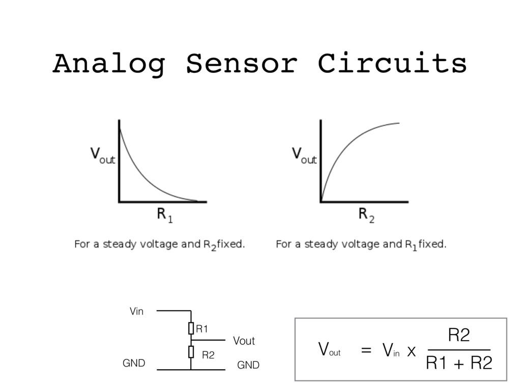 Analog Sensor Circuits = Vout Vin x R1 + R2 R2 ...
