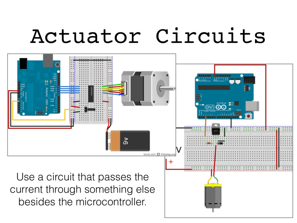 Actuator Circuits Use a circuit that passes the...