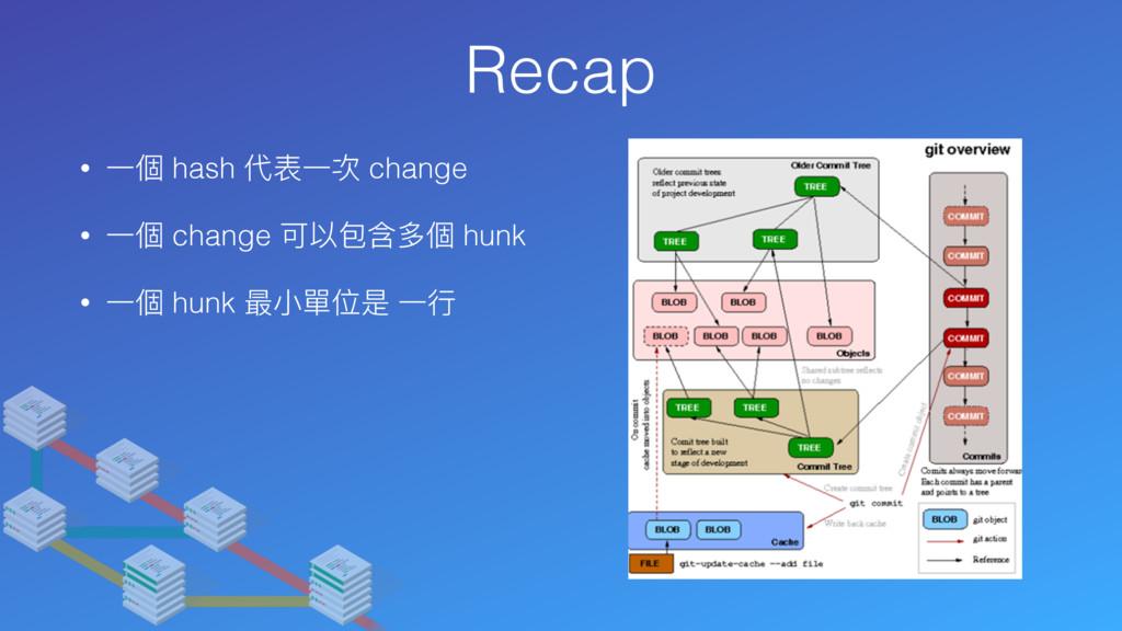 Recap • ⼀一個 hash 代表⼀一次 change • ⼀一個 change 可以包含...