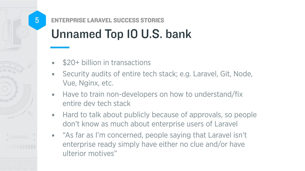 ENTERPRISE LARAVEL SUCCESS STORIES 5 • $20+ bil...