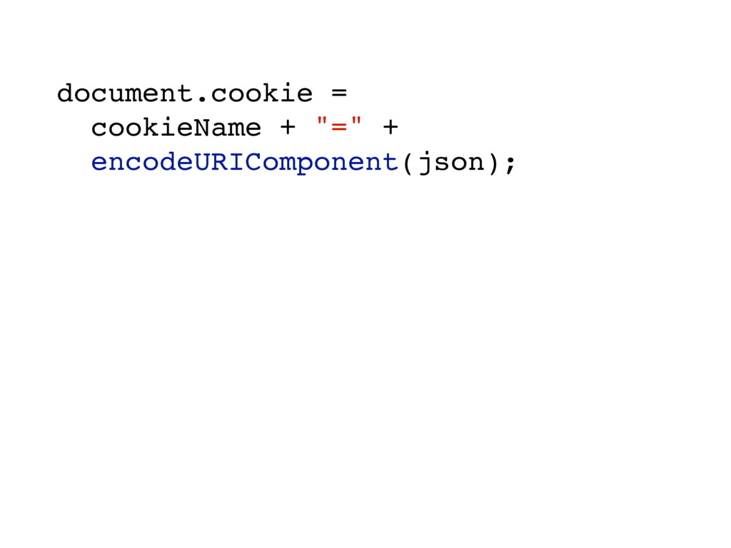 "document.cookie = cookieName + ""="" + encodeURIC..."