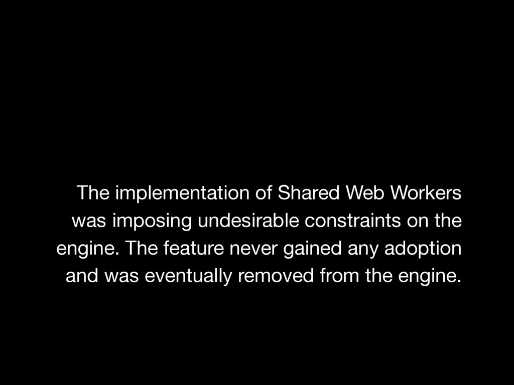 The implementation of Shared Web Workers was im...