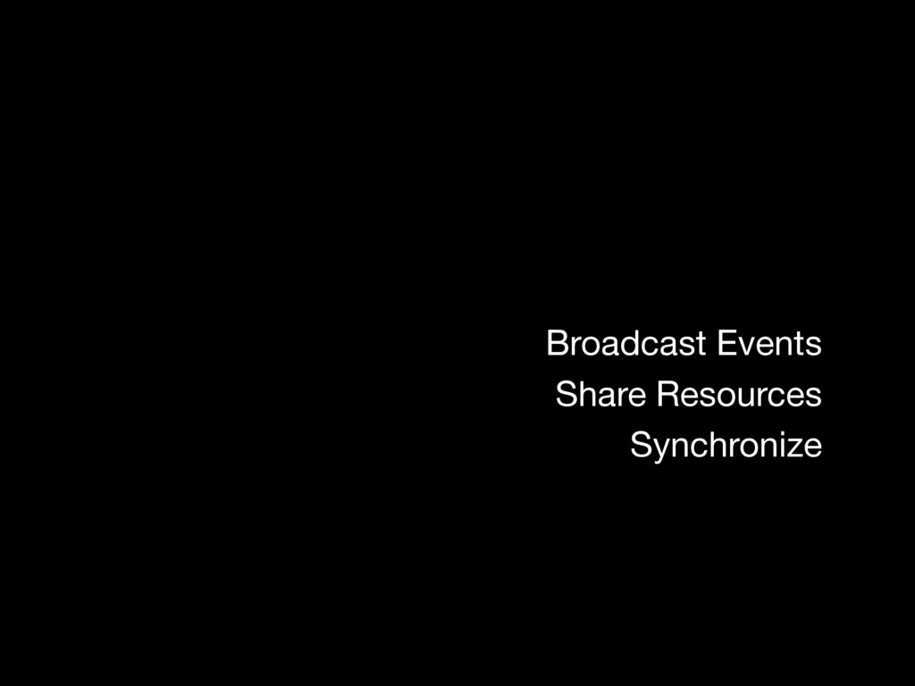 Broadcast Events Share Resources Synchronize