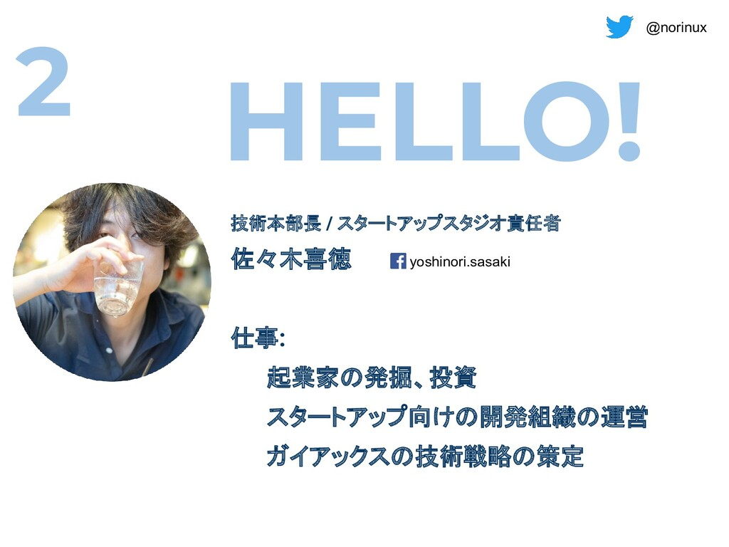 @norinux HELLO! 技術本部長 / スタートアップスタジオ責任者 佐々木喜徳 仕事...