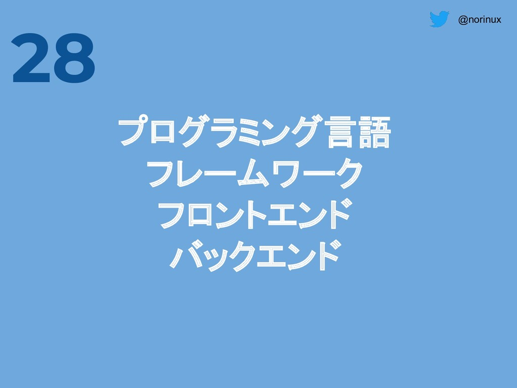 @norinux 28 プログラミング言語 フレームワーク フロントエンド バックエンド