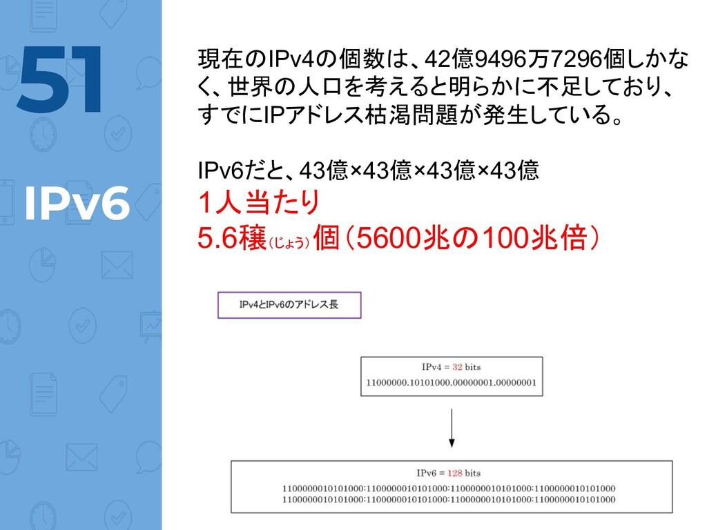 @norinux IPv6 現在のIPv4の個数は、42億9496万7296個しかな く、世界...