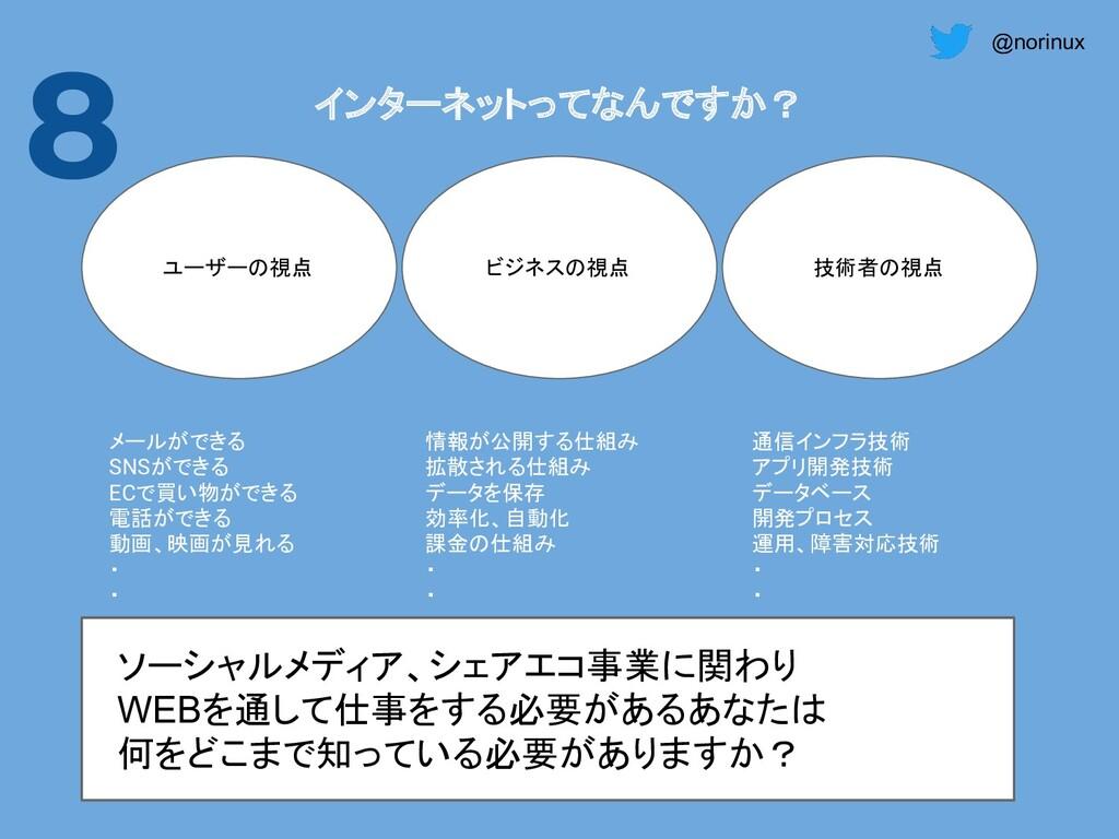 @norinux 8 インターネットってなんですか? ユーザーの視点 ビジネスの視点 技術者の...