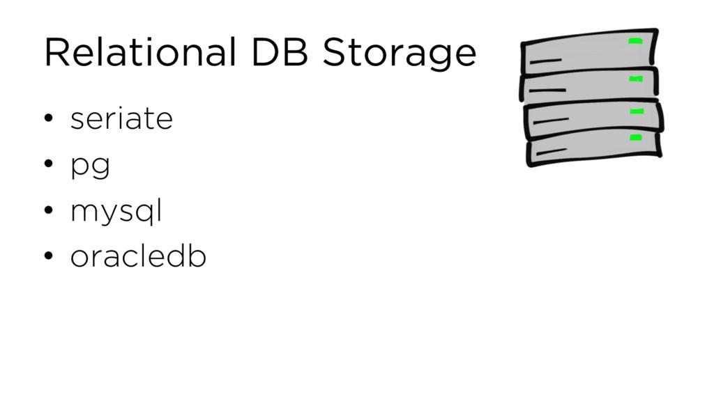 Relational DB Storage • seriate • pg • mysql • ...