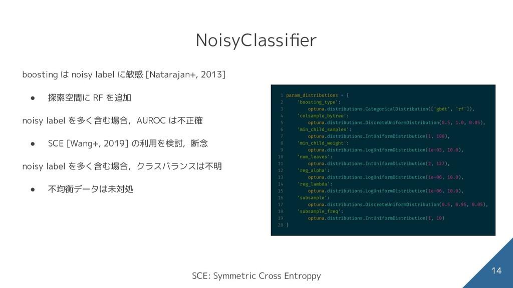 NoisyClassifier 14 boosting は noisy label に敏感 [N...