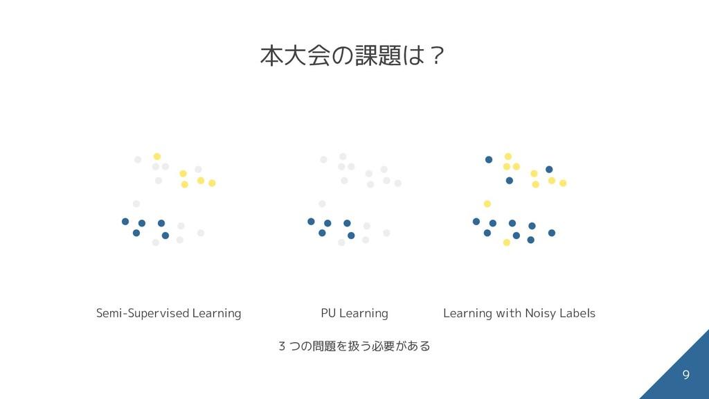 本大会の課題は? 9 PU Learning Learning with Noisy Labe...