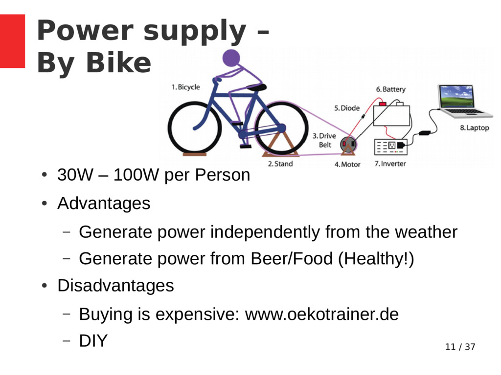 11 / 37 Power supply – By Bike ● 30W – 100W per...