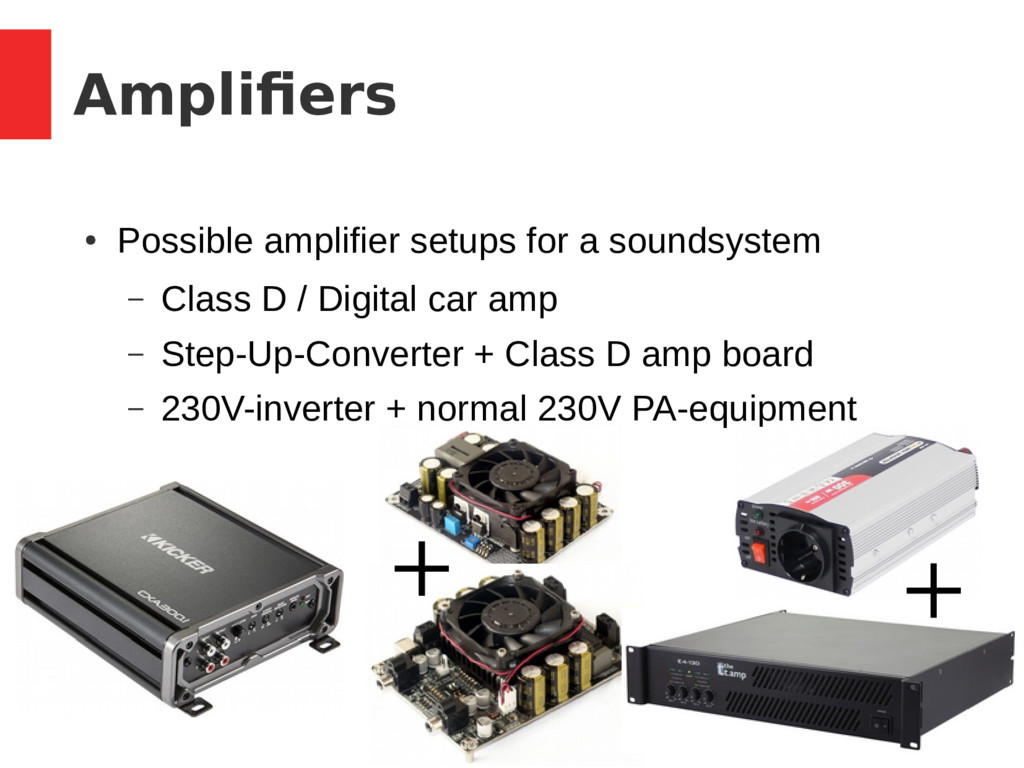 15 / 37 Amplifiers ● Possible amplifier setups ...