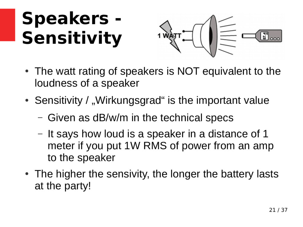 21 / 37 Speakers - Sensitivity ● The watt ratin...