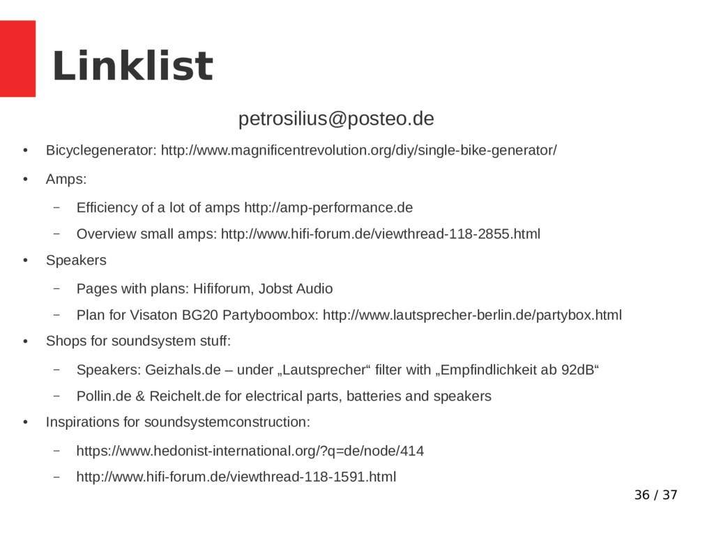 36 / 37 Linklist petrosilius@posteo.de ● Bicycl...
