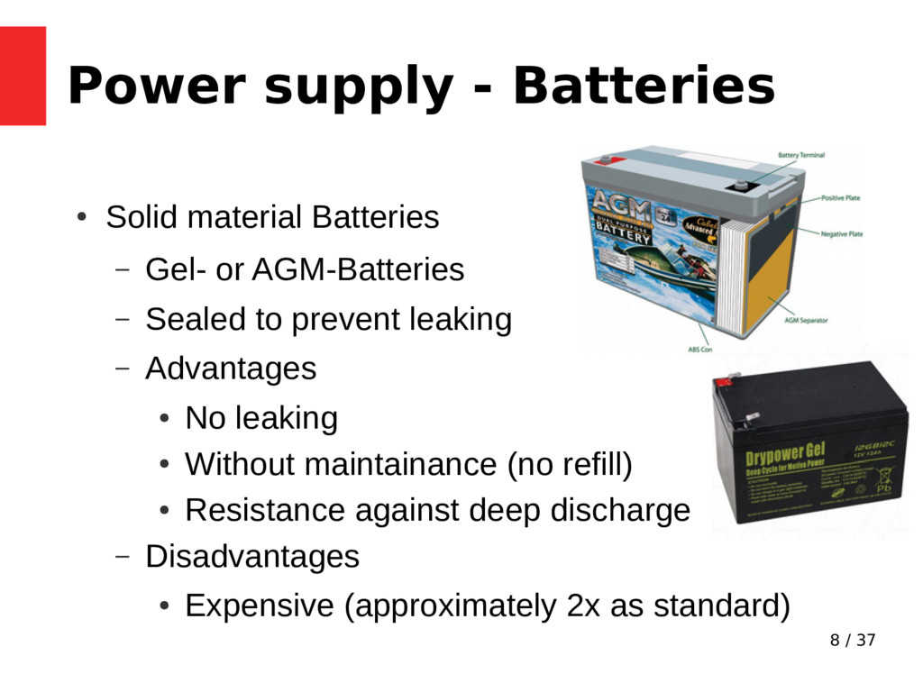8 / 37 Power supply - Batteries ● Solid materia...