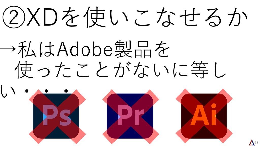 28 ②XDを使いこなせるか →私はAdobe製品を 使ったことがないに等し い・・・