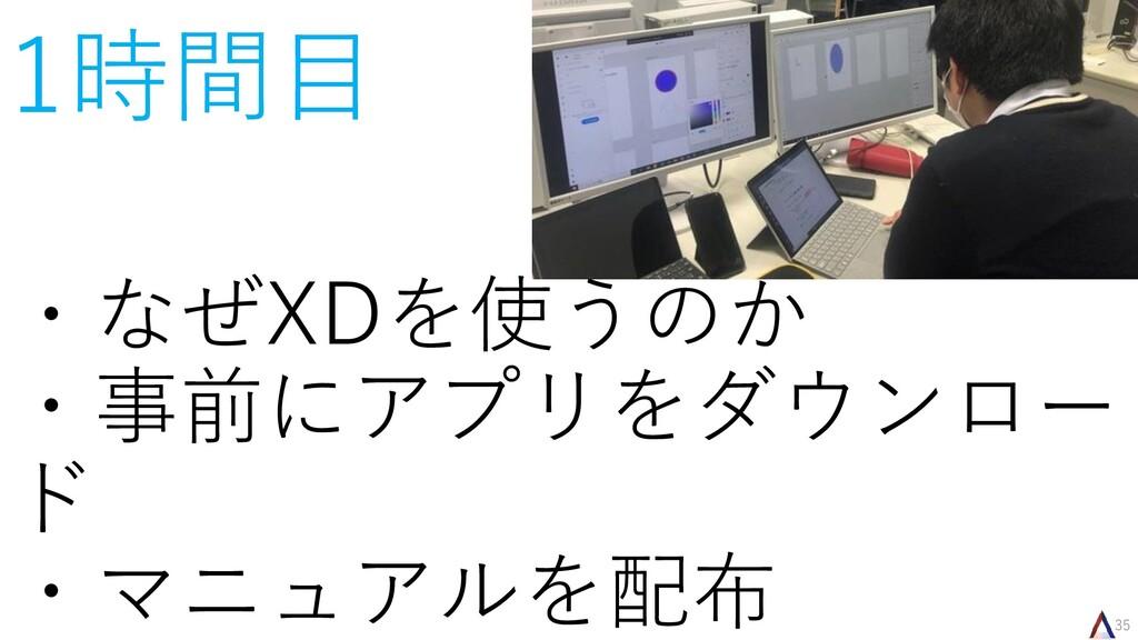 35 1時間目 ・なぜXDを使うのか ・事前にアプリをダウンロー ド ・マニュアルを配布