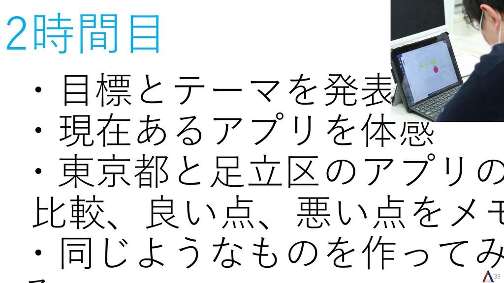 39 2時間目 ・目標とテーマを発表 ・現在あるアプリを体感 ・東京都と足立区のアプリの 比較...